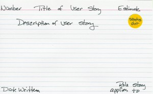Sample User Story