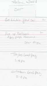 Grad Party - Saturday\'s Tasks