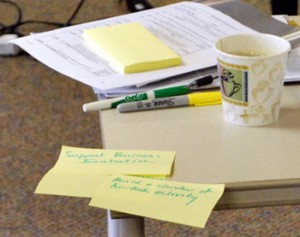 sticky notes capture individual ideas-from the Ann Arbor Chronicle http://annarborchronicle.com/2009/04/30/expanded-ldfa-board-reflects-on-purpose/